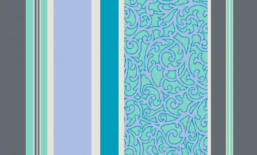 Badematte Streifen und Ranken Blau