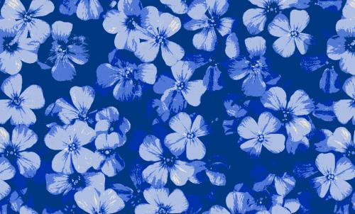 Badematte Blumen Blau