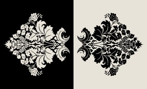 Badematte Ornament Blumen Schwarz-Weiß