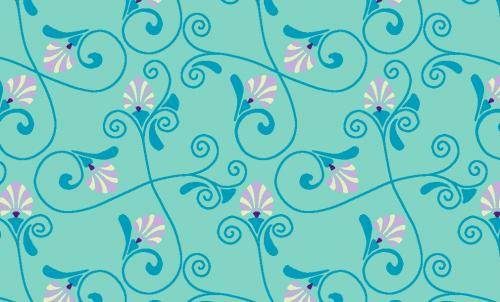 Badematte Blumenranken Blau