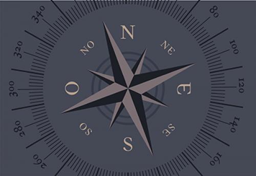 Badematte Kompass Grau