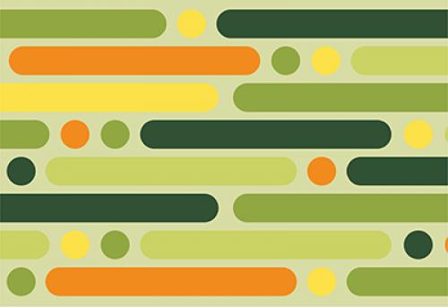 Badematte Retro Streifen und Punkte grün