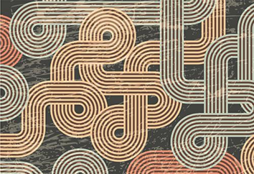 Badematte verschlungene Linien Braun